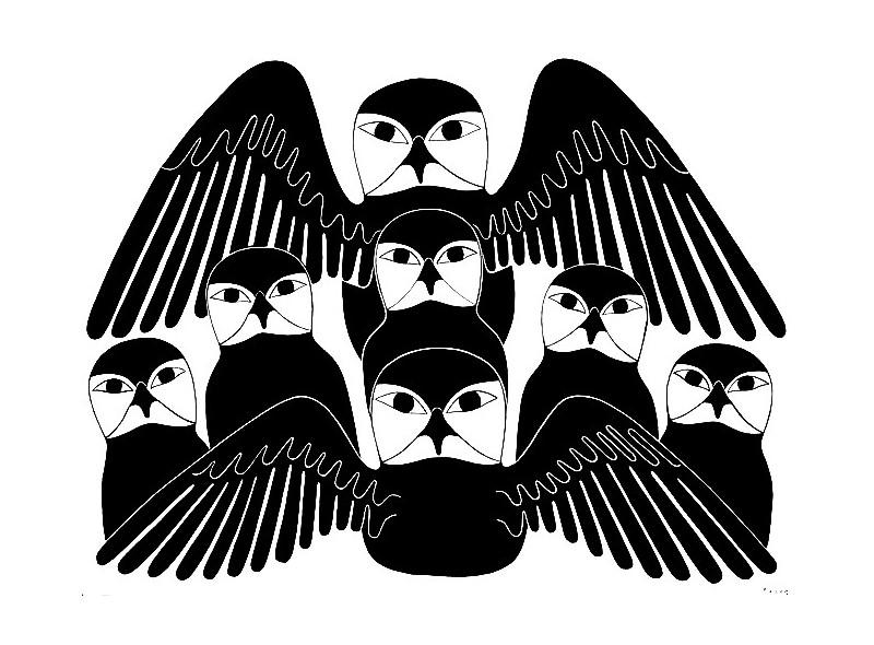 """стикер за кола """"семейство сови-Инуити"""""""