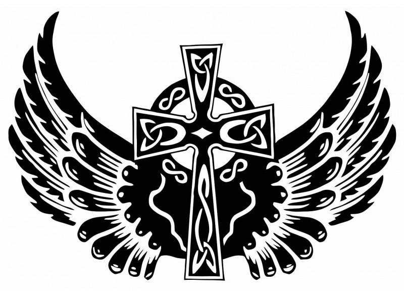 """стикер за кола """"келтски кръст с криле"""""""