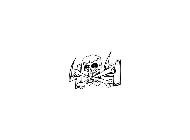"""стикер за кола """"череп с кости 4х4"""""""