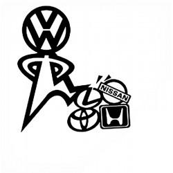 """стикер за кола """"В краката на VW"""""""