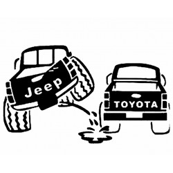 "стикер за кола ""Jeep vs Toyota"""