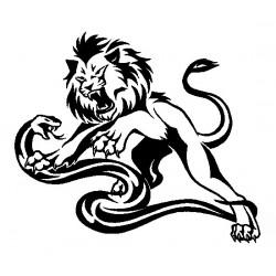 """стикер за кола """"Лъв и змия в двубой"""""""
